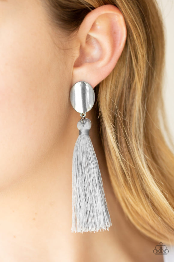 Paparazzi Va Va PLUME - Silver - Gray Thread / Tassel / Fringe - Gunmetal Frame - Earrings