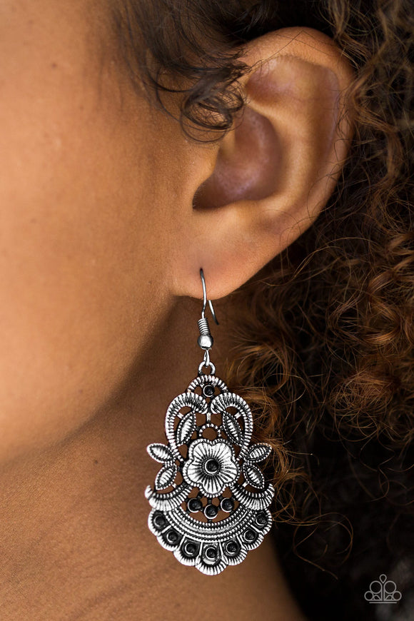 Paparazzi Blooming Bora Bora - Black - Earrings - Lauren's Bling $5.00 Paparazzi Jewelry Boutique
