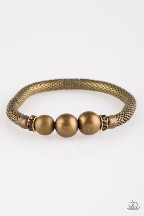 Paparazzi City Campus - Brass - Mesh Chain - Brass Beads - Bracelet - Lauren's Bling $5.00 Paparazzi Jewelry Boutique
