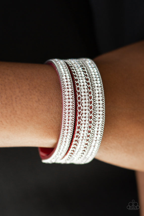 Paparazzi Dangerously Drama Queen - Red Suede Band - White Rhinestones - Silver Chains - Wrap / Snap Bracelet - Lauren's Bling $5.00 Paparazzi Jewelry Boutique