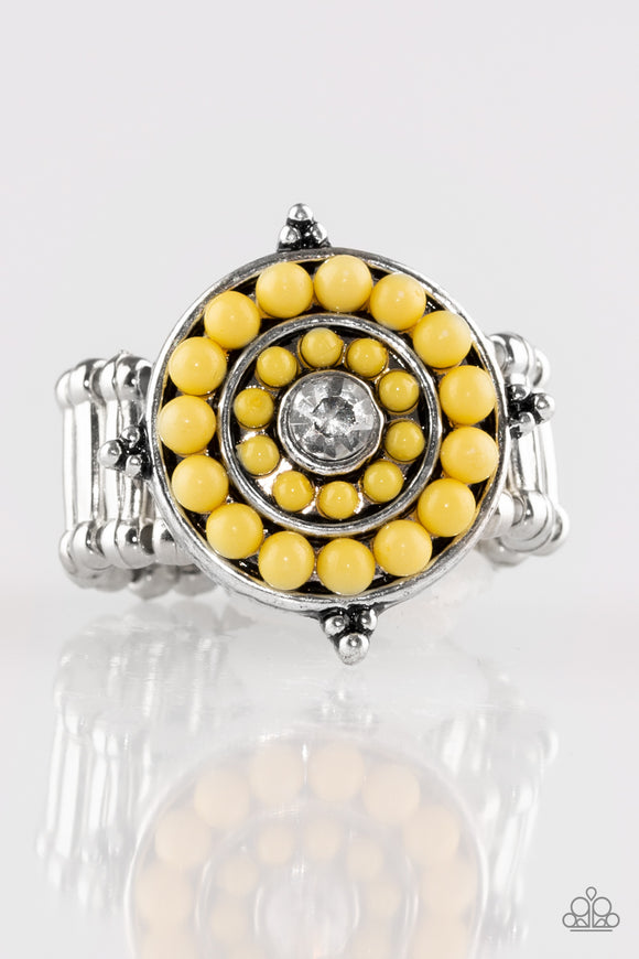 Paparazzi High-Tide Pool Party - Yellow Bead - Silver Ring - Lauren's Bling $5.00 Paparazzi Jewelry Boutique