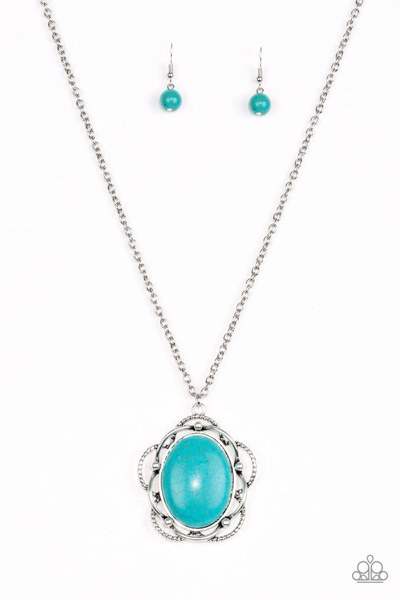 Paparazzi Let Your Dreams Bloom - Blue Turquoise Stone - Necklace and matching Earrings - Lauren's Bling $5.00 Paparazzi Jewelry Boutique