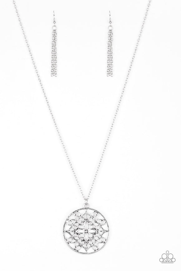 Paparazzi Mandala Melody - Silver - Necklace and matching Earrings - Lauren's Bling $5.00 Paparazzi Jewelry Boutique