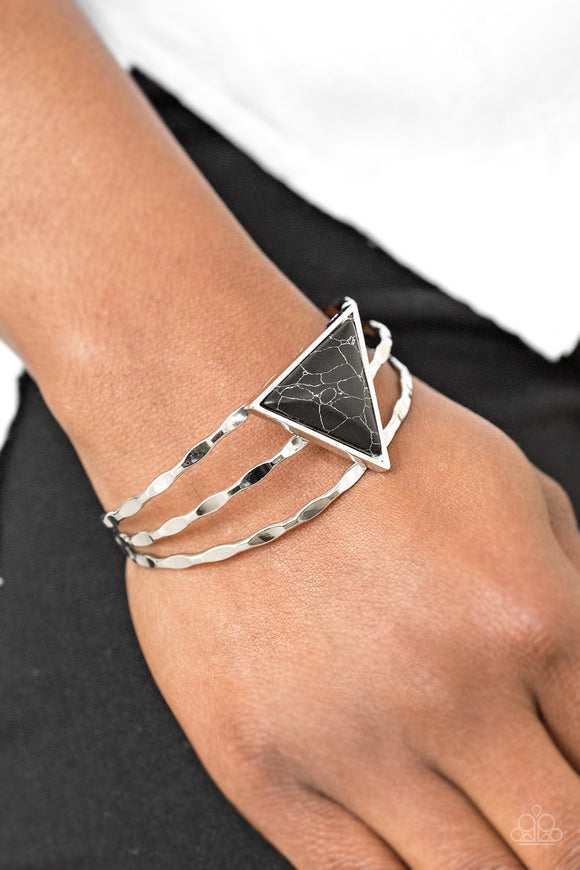 Paparazzi Put Up A FRONTIER - Black Stone - Hammered Shimmer Silver Cuff - Bracelet - Lauren's Bling $5.00 Paparazzi Jewelry Boutique