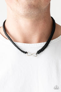 Paparazzi Right On MARITIME - Black - Silver Infinity Pendant - Braided Urban Necklace - Lauren's Bling $5.00 Paparazzi Jewelry Boutique