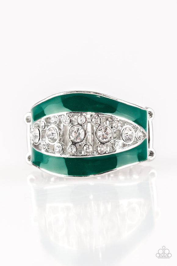 Paparazzi Trending Treasure - Green - White Rhinestones - Silver Ring - Lauren's Bling $5.00 Paparazzi Jewelry Boutique