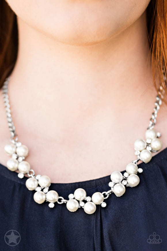 Paparazzi Love Story - White Pearls & Rhinestones - Necklace & Earrings - Blockbuster - Lauren's Bling $5.00 Paparazzi Jewelry Boutique