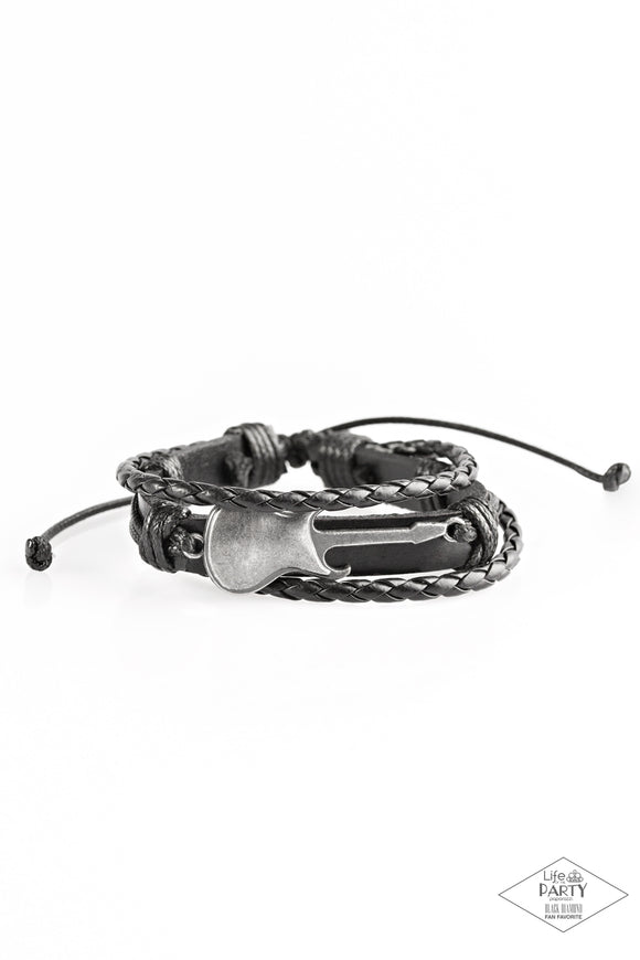 Paparazzi Lead Guitar - Black - Braided Leather - Guitar - Bracelet