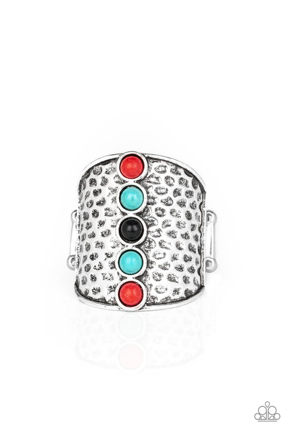 Paparazzi A Line In The SANDSTONE - Red - Black and Turquoise Stones - Silver Ring - Lauren's Bling $5.00 Paparazzi Jewelry Boutique