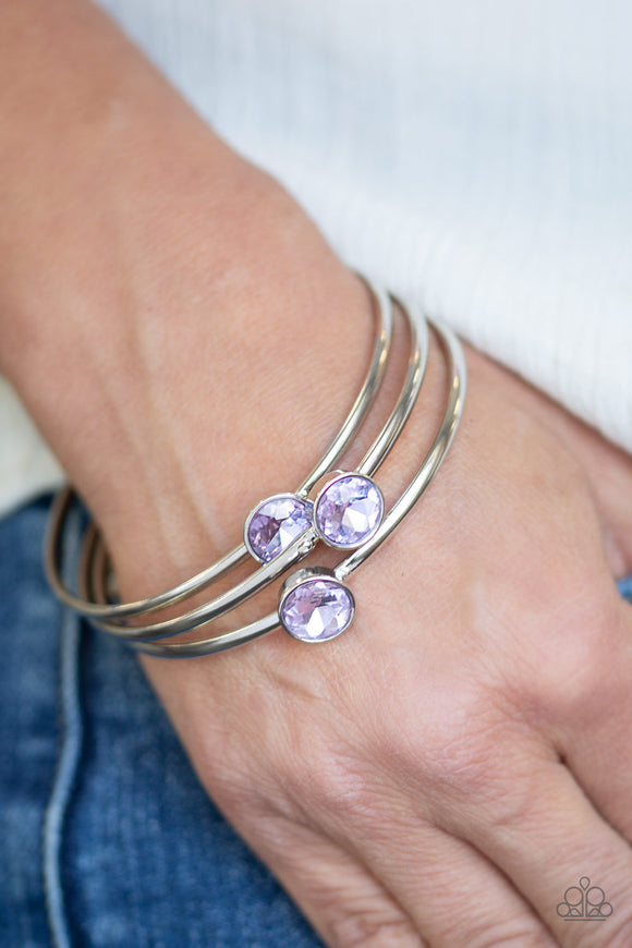 Paparazzi Be All You Can BEDAZZLE - Purple Gems - Silver Bangle Bracelets