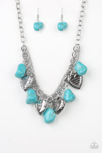 "Paparazzi Change Of Heart - Blue / Turquoise Stone - Silver Heart Luke 10:27 ""With All My Heart"" Necklace and matching Earrings - Lauren's Bling $5.00 Paparazzi Jewelry Boutique"