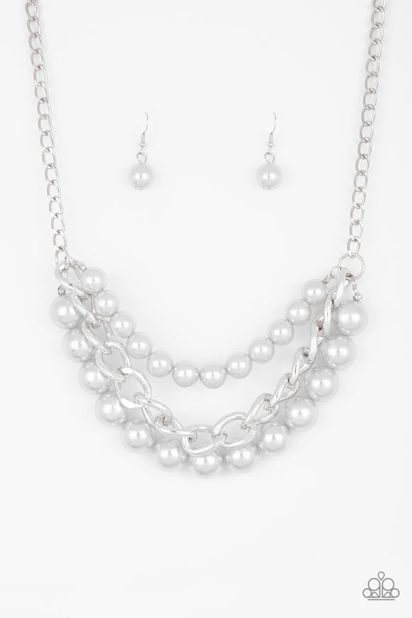 Paparazzi Empire State Empress - Silver Pearls - Thick Silver Chain - Necklace and matching Earrings - Lauren's Bling $5.00 Paparazzi Jewelry Boutique