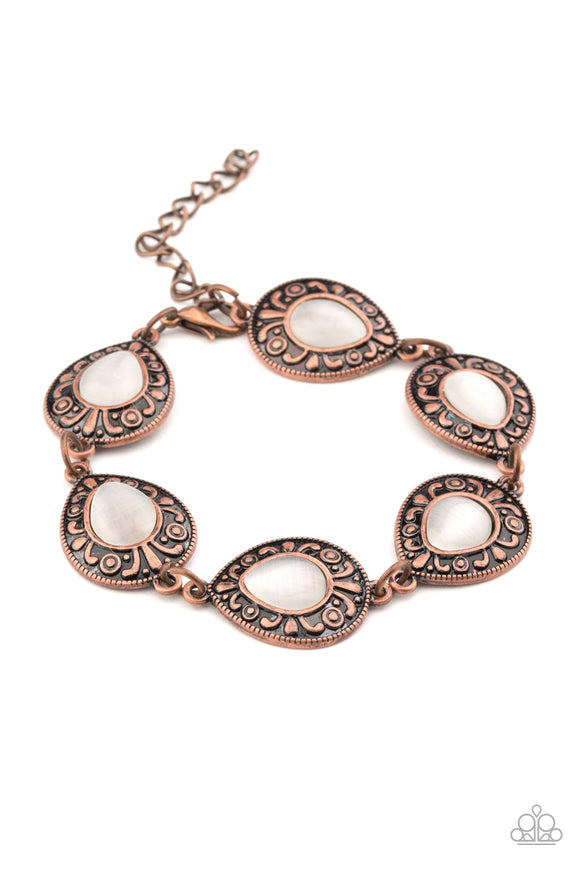 Paparazzi Enchantingly Ever After - Copper - White Cat's Eye Moonstone - Ornate Teardrop Links - Bracelet