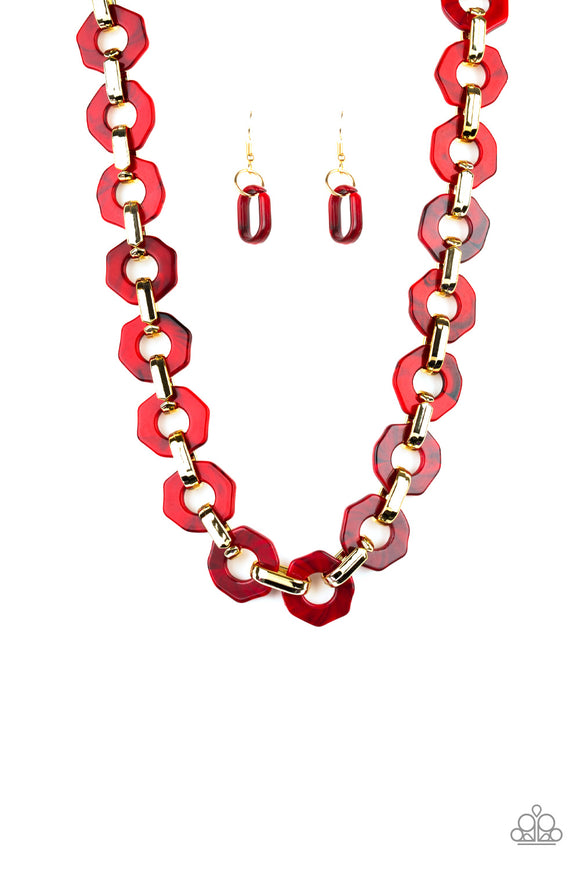 Paparazzi Fashionista Fever - Red - Hexagon Acrylic Frames - Necklace and matching Earrings