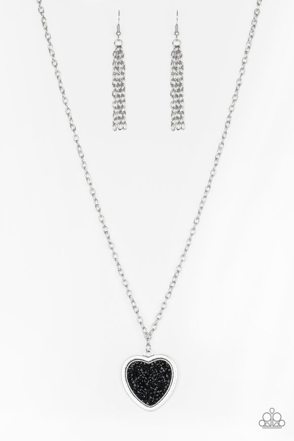 Paparazzi Heart of SPARKLE - Black Rhinestone - Silver Chain Necklace and matching Earrings