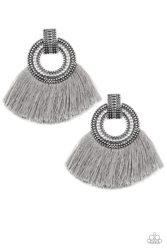 Paparazzi I Am Spartacus - Silver - Gray Thread / Fringe / Tassel  - Post Earrings