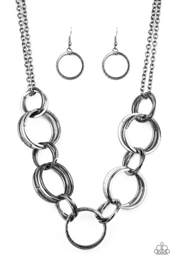 Paparazzi Jump Into The Ring - Black - Gunmetal Double Chain Necklace and matching Earrings