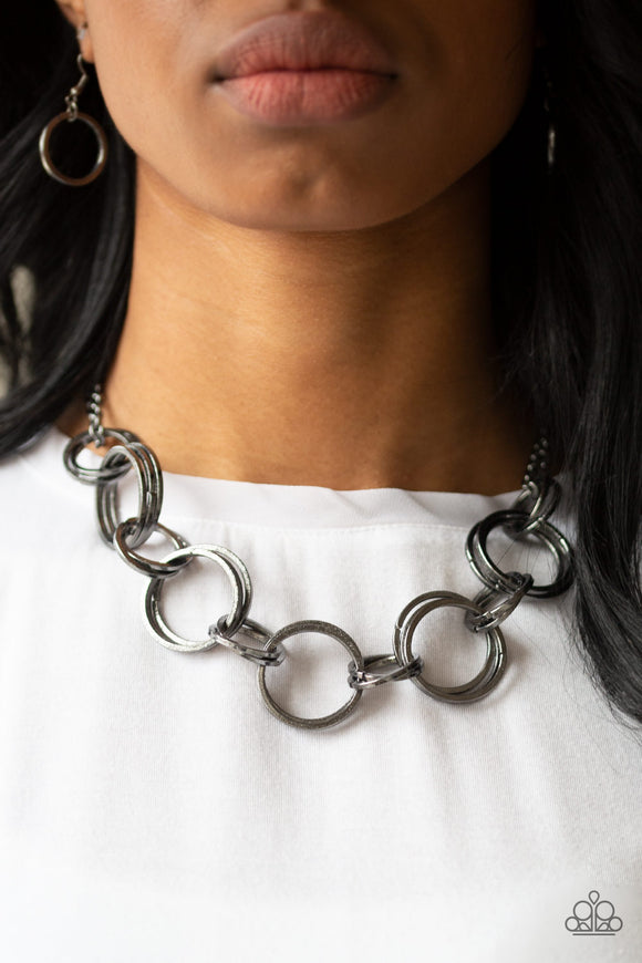 Paparazzi Jump Into The Ring - Black - Gunmetal Double Chain Necklace and matching Earrings - Lauren's Bling $5.00 Paparazzi Jewelry Boutique