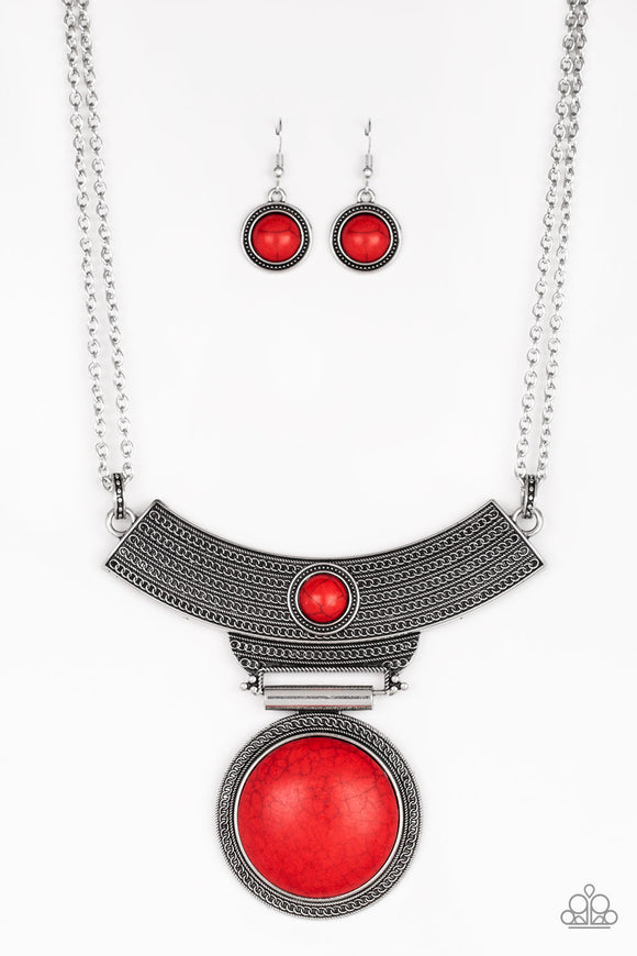 Paparazzi Lasting EMPRESS-ions - Red Stone - Pendant Necklace and matching Earrings