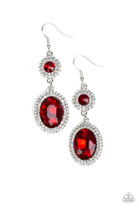 Paparazzi Let It BEDAZZLE - Red Gems - White Rhinestones - Earrings - Lauren's Bling $5.00 Paparazzi Jewelry Boutique