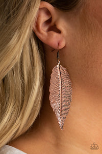 Paparazzi Lookin For A FLIGHT - Copper - Rhinestones - Etched and Embossed Feather Earrings - Lauren's Bling $5.00 Paparazzi Jewelry Boutique