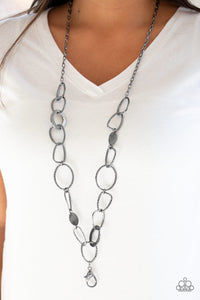 Paparazzi Metro Nouveau - Black LANYARD - Hammered Gunmetal Hoops - Necklace & Earrings - Lauren's Bling $5.00 Paparazzi Jewelry Boutique