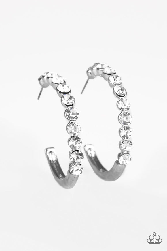 Paparazzi My Kind Of Shine - White - Rhinestones - Silver Post Hoop Earrings - Lauren's Bling $5.00 Paparazzi Jewelry Boutique