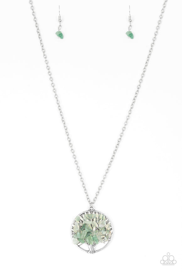 Paparazzi Naturally Nirvana - Green Rocks - Silver Tree of Life - Necklace and matching Earrings - Lauren's Bling $5.00 Paparazzi Jewelry Boutique