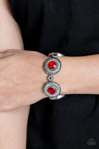 Paparazzi Original Opulence - Red Rhinestones - Silver Stretchy Band Bracelet - Lauren's Bling $5.00 Paparazzi Jewelry Boutique