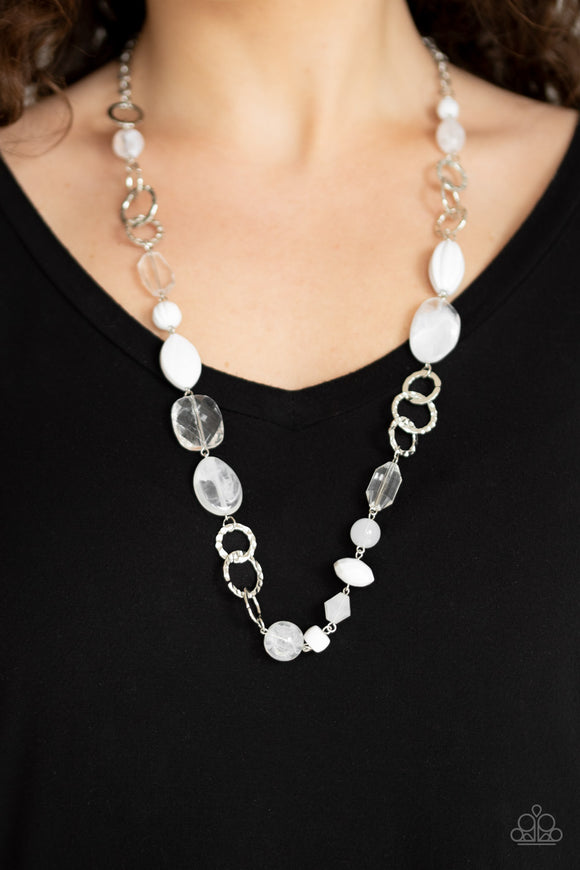 Paparazzi Prismatic Paradise - White - Necklace & Earrings