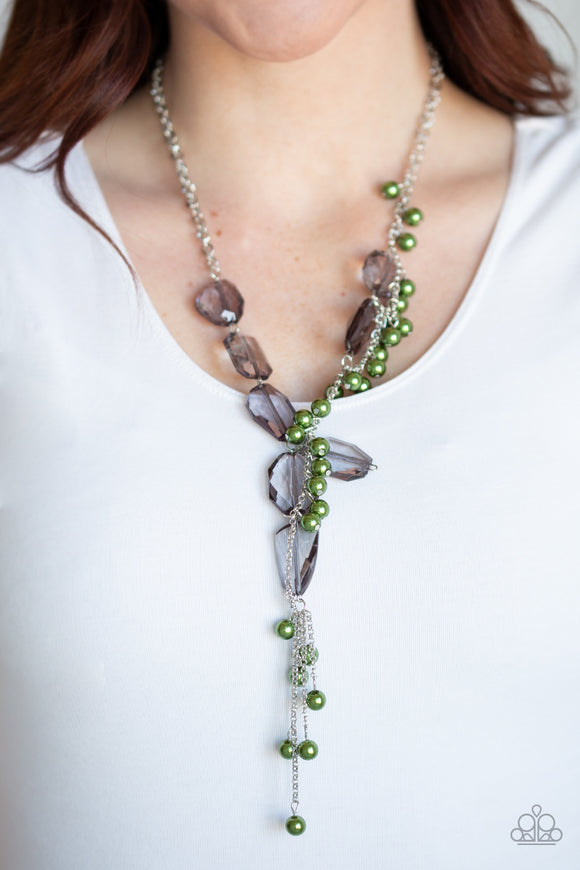Paparazzi Prismatic Princess - Green - Faceted Smoky Gems - Silver Necklace & Earrings - Lauren's Bling $5.00 Paparazzi Jewelry Boutique