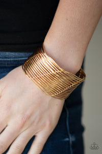 Paparazzi Retro Revamp - Gold - Wire Weaves - Edgy Cuff Bracelet - Lauren's Bling $5.00 Paparazzi Jewelry Boutique