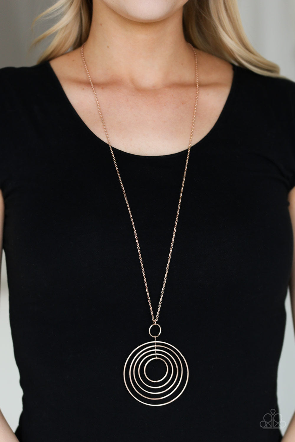 Paparazzi Running Circles In My Mind Rose Gold Hoops Necklace