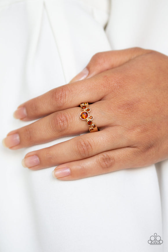 Paparazzi Sparkle Spree - Brown - Topaz Rhinestones - Dainty Band Ring - Lauren's Bling $5.00 Paparazzi Jewelry Boutique