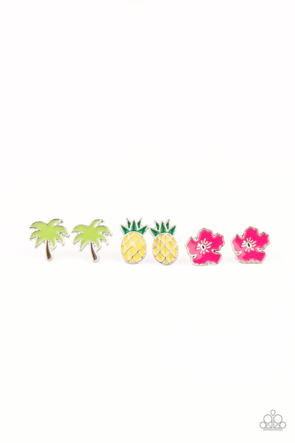 Paparazzi Starlet Shimmer Post Earrings - 10 - Tropical Shapes, Palm Trees, Pineapples, Leaves, Bird, Flowers