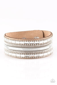 Paparazzi Teasingly Tomboy - Brown - White Rhinestones - Wrap / Snap Bracelet