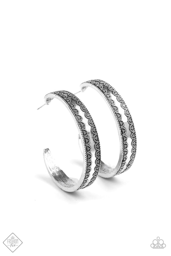 Paparazzi Textured Treasure Silver - Antiqued Silver Hoop Earrings - Fashion Fix Exclusive September 2019