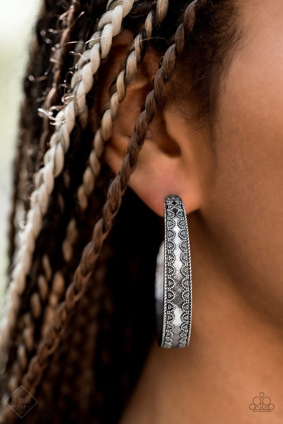 Paparazzi Textured Treasure Silver - Antiqued Silver Hoop Earrings - Fashion Fix Exclusive September 2019 - Lauren's Bling $5.00 Paparazzi Jewelry Boutique