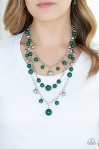 Paparazzi The Partygoer - Green - Silver Chains Necklace and matching Earrings - Lauren's Bling $5.00 Paparazzi Jewelry Boutique
