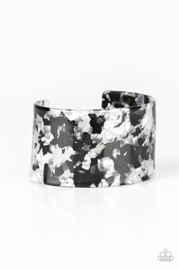 Paparazzi Vogue Revamp - White - Marble Finish - Thick Acrylic Cuff Bracelet