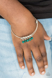 Paparazzi All Roads Lead To ROAM - Green Beads - Silver Wire Coils - Bracelet - Lauren's Bling $5.00 Paparazzi Jewelry Boutique