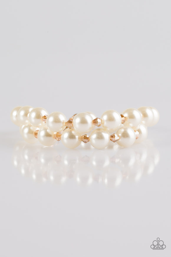 Paparazzi BALLROOM and Board - Gold Beads - White Pearls - Adjustable Closure Bracelet - Lauren's Bling $5.00 Paparazzi Jewelry Boutique