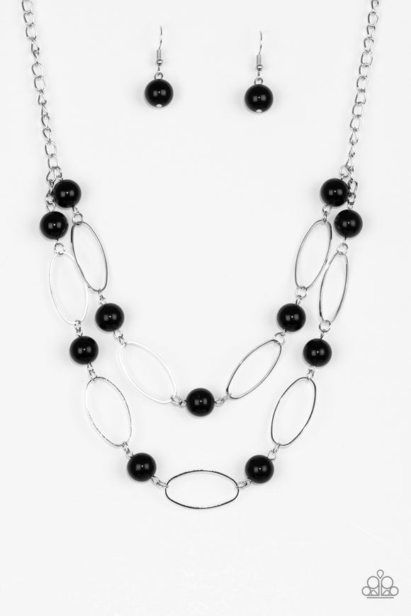 Paparazzi Best Of Both POSH-ible Worlds - Black Beads - Silver Necklace and matching Earrings - Lauren's Bling $5.00 Paparazzi Jewelry Boutique
