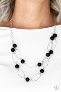 Paparazzi Best Of Both POSH-ible Worlds - Black Beads - Silver Necklace & Earrings - Lauren's Bling $5.00 Paparazzi Jewelry Boutique