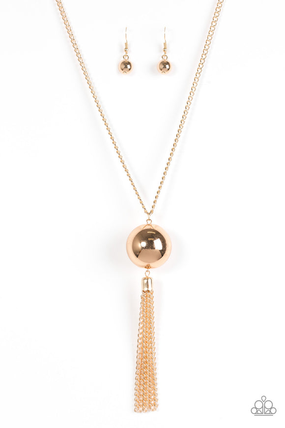Paparazzi Big Baller - Gold Bead - Bold Gold Chains Necklace and matching Earrings - Lauren's Bling $5.00 Paparazzi Jewelry Boutique