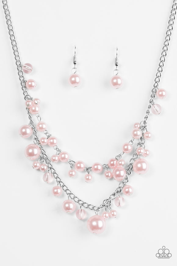 Paparazzi Blissfully Bridesmaid - Pink Pearls - Silver Necklace and matching Earrings - Lauren's Bling $5.00 Paparazzi Jewelry Boutique