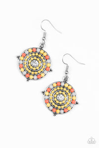 Paparazzi Caribbean Cruzin - Yellow - Gray and Orange Beads - White Rhinestone - Earrings - Lauren's Bling $5.00 Paparazzi Jewelry Boutique