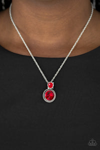 Paparazzi Date Night Dazzle - Red Rhinestone Silver Necklace & Earrings - Lauren's Bling $5.00 Paparazzi Jewelry Boutique