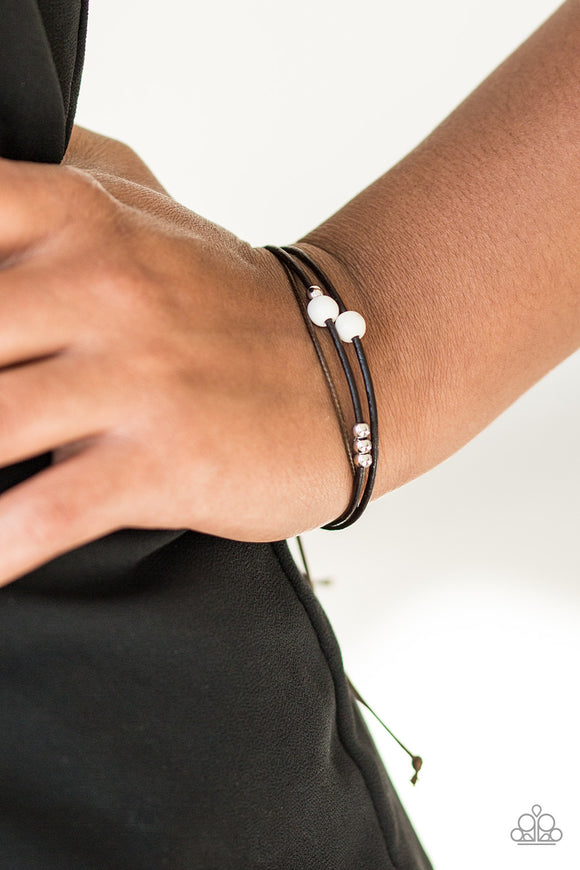 Paparazzi Mountain Treasure - White - Silver Beads and Stone - Urban Bracelet - Lauren's Bling $5.00 Paparazzi Jewelry Boutique