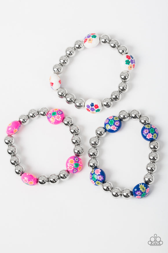 Paparazzi Starlet Shimmer Bracelets - 10 - Flowers on Silver - Pink, White, Blue, Green